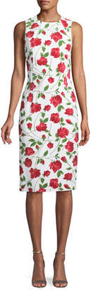 Michael Kors Sleeveless Stemmed-Rose Print Stretch-Cady Sheath Dress