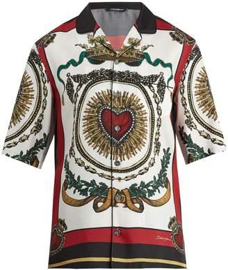 Dolce & Gabbana Heart-print short-sleeved silk shirt