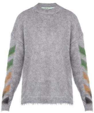 Off-White Off White Diagonal Arrow Logo Mohair Blend Sweater - Mens - Grey