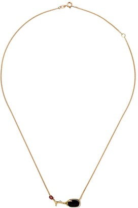 Wouters & Hendrix Gold 18kt yellow gold UZERAI Exclusive Blue Tiger Eye & Ruby Branch necklace