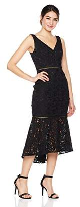 Cambridge Silversmiths The Collection Women's V-Neckline Midi Evening Dress with Flounce Hollowed-Out Skirt 4
