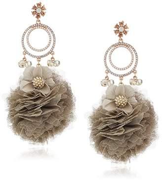 Badgley Mischka Womens Tulle Crystal Drop Earrings