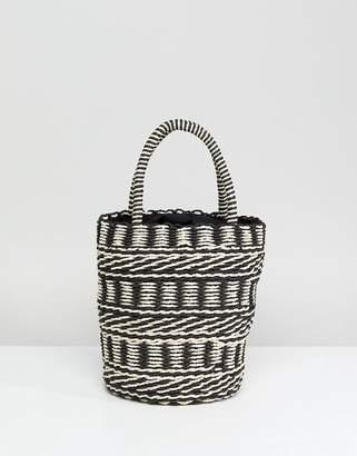 Asos DESIGN Straw Bucket with Drawstring