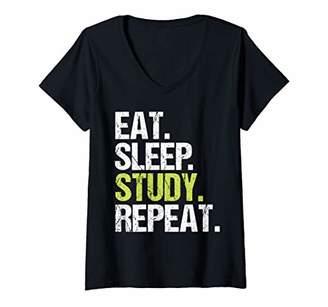 STUDY Womens Eat Sleep Repeat Student Studying Birthday Gift V-Neck T-Shirt