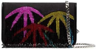 Les Petits Joueurs black palm tree fringed clutch bag