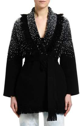 Alanui Hoarfrost Hand-Embroidered Crystal Cardigan