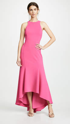 Halston Sleeveless High Neck Crepe Dress