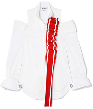 Monse Cold-shoulder Ruffled Cotton-blend Poplin Shirt - White