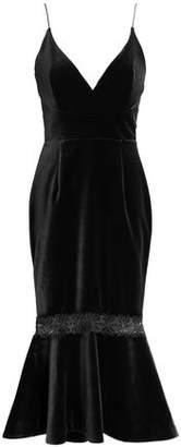 Nicholas Fluted Lace-Trimmed Velvet Midi Dress
