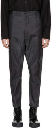 Robert Geller Grey Oiled Trousers
