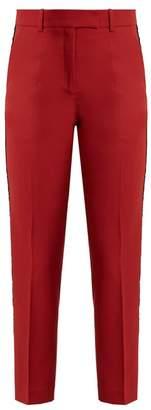 Racil - Aries Contrast Stripe Slim Leg Wool Trousers - Womens - Dark Red