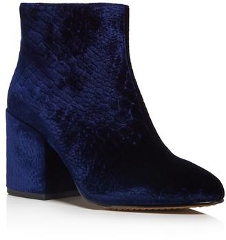 FRENCH CONNECTION Dilyla Croc Embossed Velvet Block Heel Booties $165 thestylecure.com