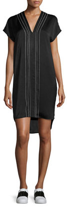 Vince Embroidered-Front V-Neck Shift Dress $395 thestylecure.com