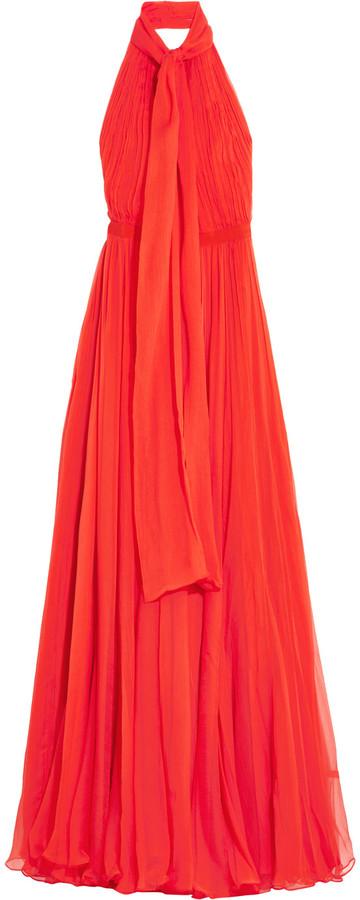 Alexander McQueenAlexander McQueen Crinkled silk-chiffon halterneck gown