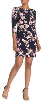 Eliza J Floral Side Tuck Sheath Dress