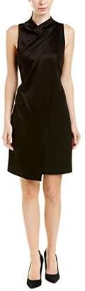 Halston Women's Mock Neck Drape Front Dress