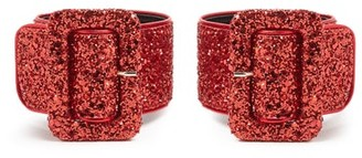 ATTICO The Glitter Embellished Ankle Straps - Womens - Red