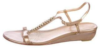 Stuart Weitzman Braided T-Strap Wedge Sandals