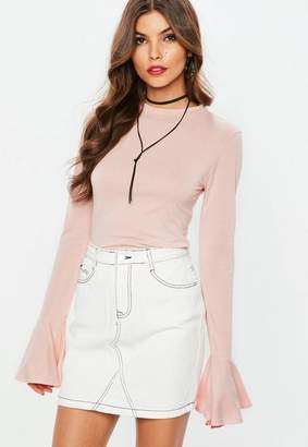 Missguided Pink Striped Long Sleeve Flared Cuff T Shirt