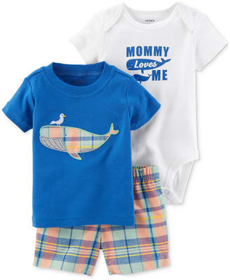 Carter's 3-Pc. Graphic-Print Cotton T-Shirt, Bodysuit & Shorts Set, Baby Boys