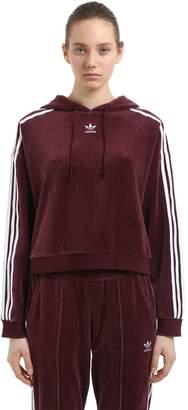6b37c50a771f at Luisaviaroma adidas Oversize Velvet Crop Sweatshirt Hoodie