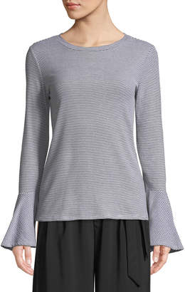 philosophy Bell-Sleeve Striped Crew-Neck Blouse