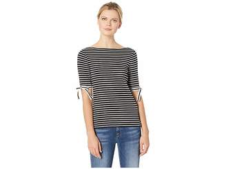 Lauren Ralph Lauren Ribbon-Sleeve Striped Boat Neck Top