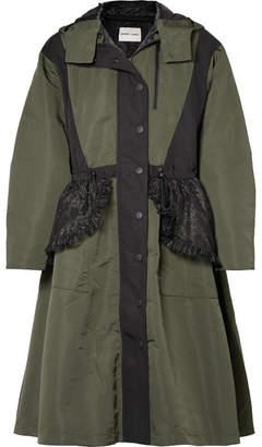 Sandy Liang - Turner Hooded Ruffled Lace-paneled Shell Coat - Army green