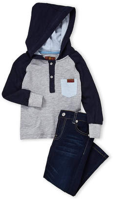 7 For All Mankind Toddler Boys) Two-Piece Hooded Henley & Straight Jeans Set