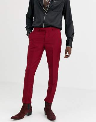 Twisted Tailor super skinny suit trousers in burgundy