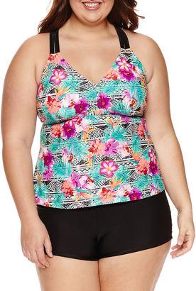 ARIZONA Arizona Floral Tankini Swimsuit Top-Juniors Plus $42 thestylecure.com