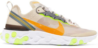 Nike React Element 87 Ripstop, Leather And Suede Sneakers - Beige