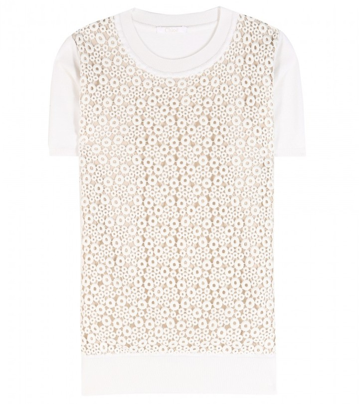 Chloé Wool top with broderie anglaise