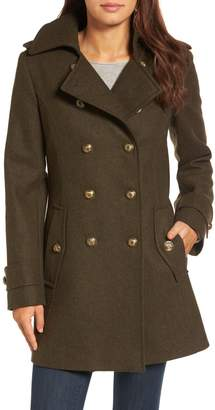 London Fog Double Breasted Wool Blend Military Coat