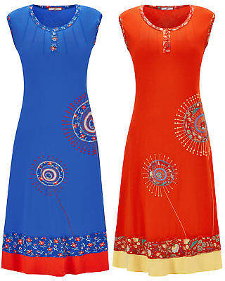 Joe Browns Womens Sleeveless Jersey Dress with Embroidered Detail Orange Multi