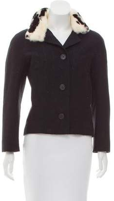 Christian Dior Fur-Trimmed Wool Jacket