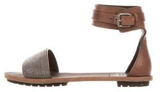 Brunello Cucinelli Monili Ankle-Strap Sandals