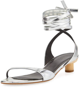 Tibi Scott Metallic Ankle-Wrap Sandal