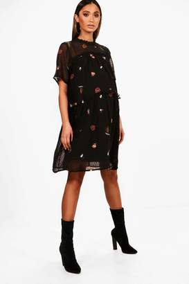 boohoo Maternity Emily Embroidered Smock Dress