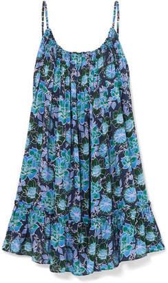 Paloma Blue - Faye Open-back Ruffled Floral-print Crepe De Chine Dress - Navy