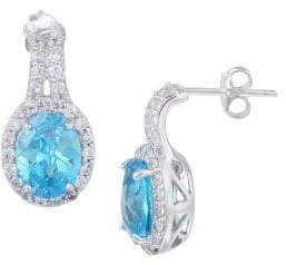 Lord & Taylor Sterling Silver and Aqua Cubic Zirconia Drop Earrings