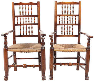 One Kings Lane Vintage Lancashire-Style Spindle Armchairs - Set of 2 - Vintique
