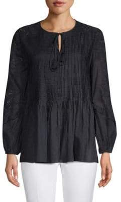 Elie Tahari June Cotton Peasant Blouse