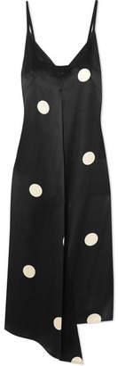 Petar Petrov Dee Asymmetric Polka-dot Silk-satin Dress - Black