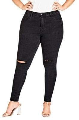 City Chic Plus Ripped Knee Denim Jeans