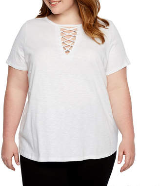 Boutique + + Short Sleeve Lace-Up T-Shirt - Plus
