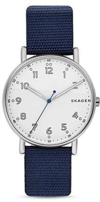 Skagen Signature Leather Strap Watch, 40mm