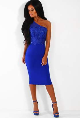 Pink Boutique Say Goodbye Cobalt Blue Sequin Asymmetric Midi Dress