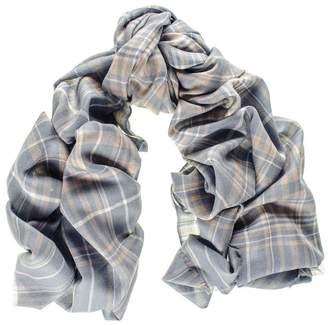Black Albion Check Merino Wool and Silk Scarf