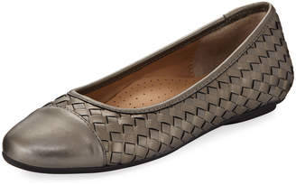 Neiman Marcus Silex Napa Leather Woven Flat, Pewter Pearl